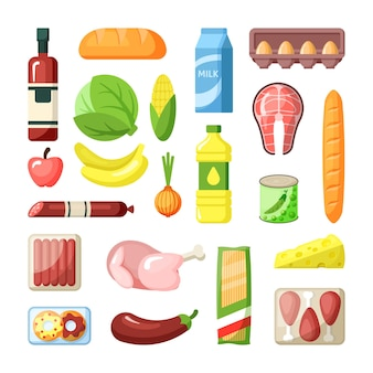 Common supermarket grocery products flat illustration set ingredients