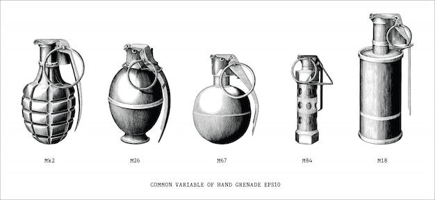 Common variable of hand grenade hand draw vintage style black and white