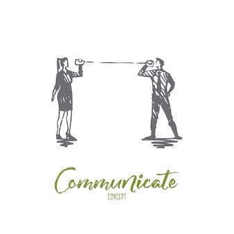 Communicate illustration in hand drawn