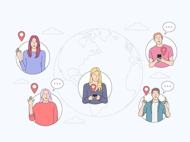 コミュニケーション、オンラインチャットのコンセプト。人々はインターネットを介して通信します。リモートビジネスチーム、ワールドワイドウェブおよびマーケティング。