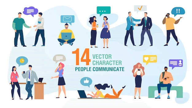 Communicating people flat vector characters set