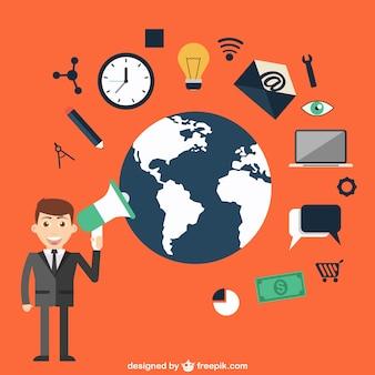 世界ベクトルとの通信
