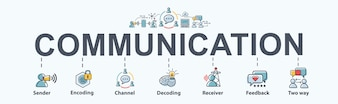Communication banner web icon for business.