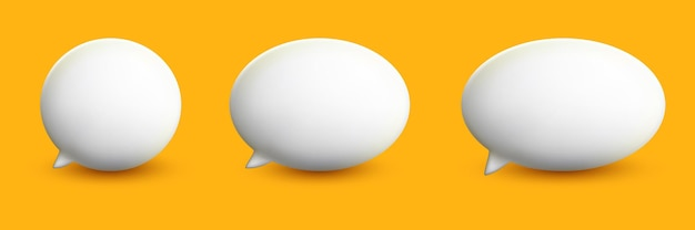 Communication bubbles in 3d cute style collection set on the yellow background