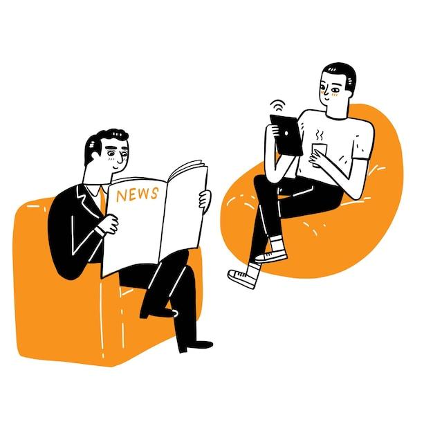 통신 비즈니스 개념, 신문 뉴스를 읽는 노인, 태블릿을 통해 뉴스를 읽는 소파에 앉아 있는 청년. 다른 통신 도구, 벡터 일러스트 레이 션 손으로 그린 낙서