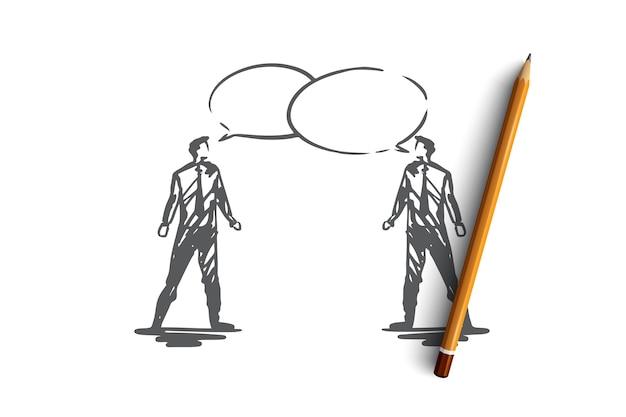 Общение, бизнес, речь, чат, концепция разговора. руки drawn двух бизнесменов, говорящих эскиз концепции.