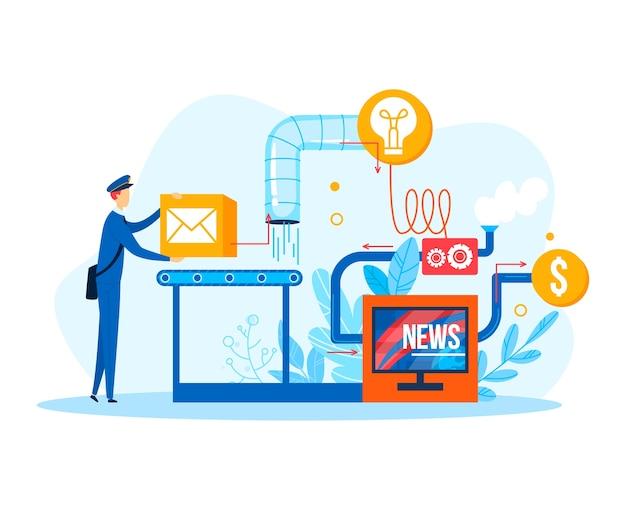 Коммуникационный бизнес с плоским человеком возле механизма, иллюстрация. технология сотрудничества для концепции работы новостей людей. креативный дизайн социальных сетей, мультяшный человек с коробкой.