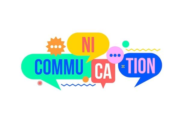 단어 의사 소통과 다채로운 연설 거품에서 통신 개념. 사람, 팀워크, 연결, 채팅 및 블로그, 소셜 미디어 간의 의사 소통의 상징으로 대화 거품.