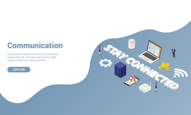 Communication or connected internet concept for website template or landing homepage with isometric modern style