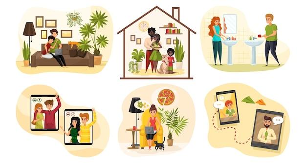 Связь, коронавирус, карантин, концепция семейного набора. коллекция людей мужчины женщины отец мать ребенок пары остаются дома на карантине. домашние дела и онлайн-чат в социальных сетях.