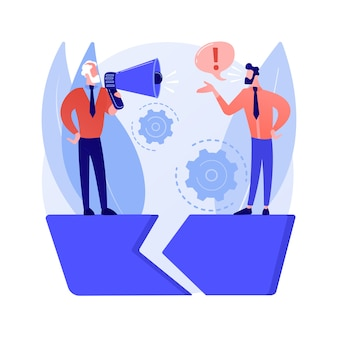 Illustrazione di vettore di concetto astratto di gap di comunicazione. scambio di informazioni, comprensione, comunicazione efficace, linguaggio del corpo, sentimenti e aspettative, metafora astratta della relazione.