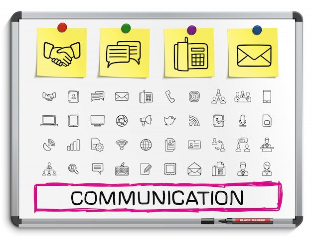 Communication hand drawing line icons.  doodle pictogram set, sketch sign illustration on white marker board with paper stickers, business, social media