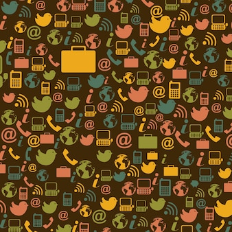 Communication icon over brown background vector illustration