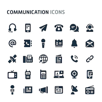 Communication icon set. fillio black icon series.
