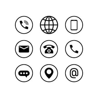 黒で設定された通信アイコン。電話、ブラウザ、電話、メッセージ、場所、メールサイン。ベクトルeps10。白い背景で隔離。