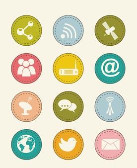 Communication icons over beige backgroud vector illustration