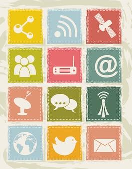 Communication icons over grunge background