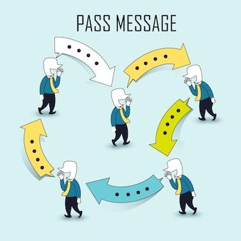 커뮤니케이션 아이디어: 선 스타일로 메시지를 전달하는 사업가