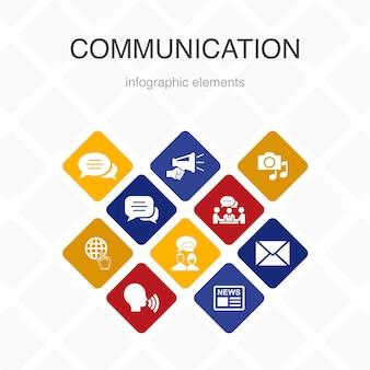 통신 인포 그래픽 10 옵션 색상 디자인. 인터넷, 메시지, 토론, 발표 간단한 아이콘