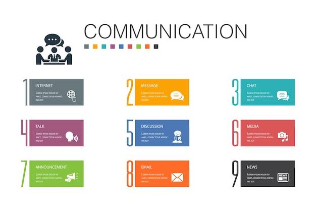 Communication infographic 10 option line concept.internet, message, discussion, announcement simple icons