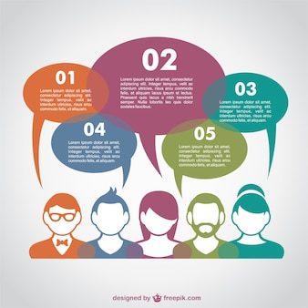 Communication infographic with colorful avatars and speech bubbles