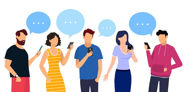 Communication of men and women. people icons with speech bubbles.  illustration