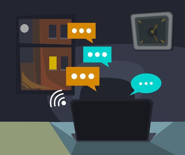 커뮤니케이션 온라인 야간 채팅 프리미엄 벡터