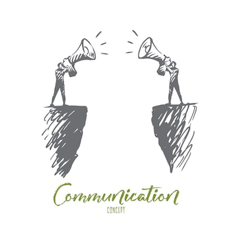 Communication, people, two, talk, megaphone concept. hand drawn two persons communicate with megaphone concept sketch.