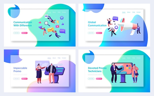 Communication, pr agency marketing and promotion website landing page set, alert advertising and social media public relations, promotional affairs, web page. cartoon flat vector illustration