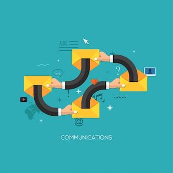 Communication process flat web infographic