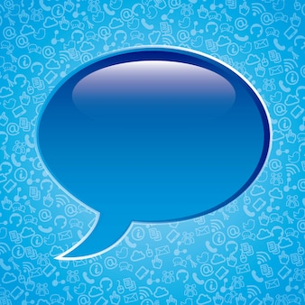 Communication signs over blue background vector