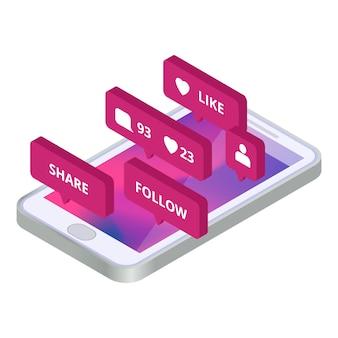 コミュニケーション、ソーシャルメディアアプリのコンセプト