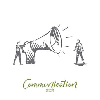 Связь, динамик, мегафон, концепция объявления. ручной обращается человек с эскизом концепции большой мегафон.