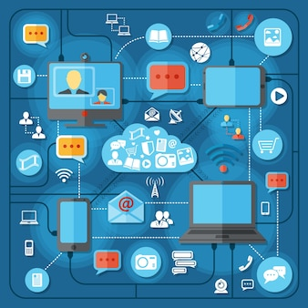 Концепция коммуникационных технологий с мобильным подключением социальная сеть и элементы вещания векторные иллюстрации