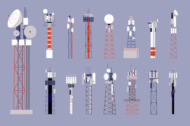 Communication towers. satellite cellular antenna, wireless mobile telecommunication equipment. network or radio radar vector illustration. antenna telecommunication radio, transmission receiving