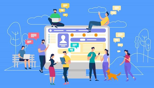 Communication via internet, social networking