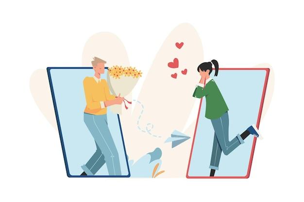 인터넷 소셜 네트워킹 온라인 데이트를 통한 커뮤니케이션 프리미엄 벡터