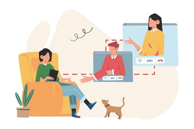 인터넷, 소셜 네트워킹, 비디오, 메시지, 웹 사이트를 통한 커뮤니케이션 프리미엄 벡터