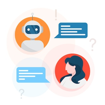 Communication with a chatbot concept. customer service