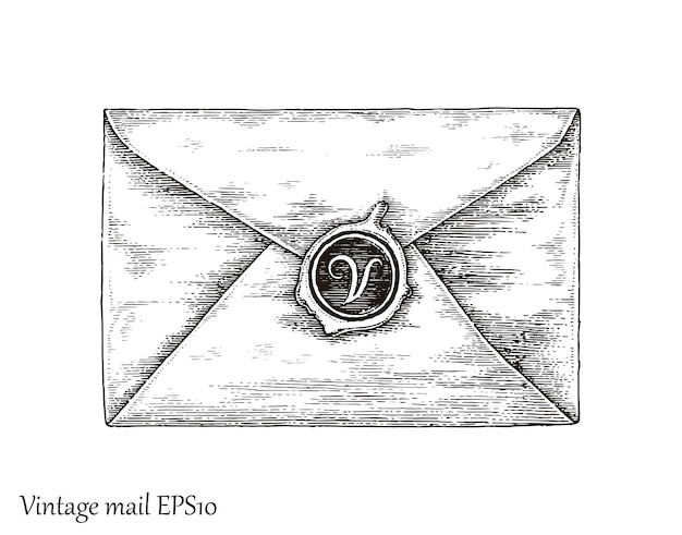 Communication with mail,mail hand drawing vintage style