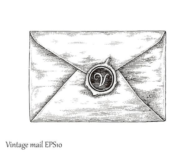 メール、メール手描きのビンテージスタイルとのコミュニケーション