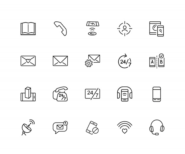 Communications icons. book, letter, mobile phone.