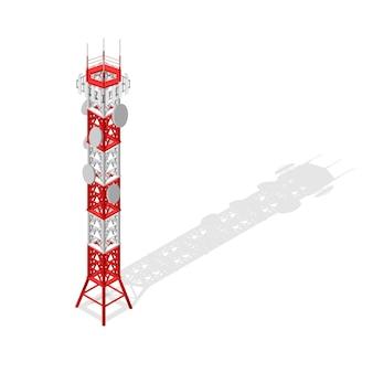 ワイヤレス接続用の通信塔携帯電話ベースまたはラジオアイソメビュー。