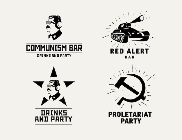Communism style logos restaurant bar design vector template