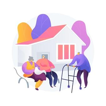 高齢者のためのコミュニティは、概念のベクトル図を抽象化します。高齢者のためのコミュニティ、高齢者の社会活動、高齢者のための住宅施設、自立生活の抽象的な比喩。
