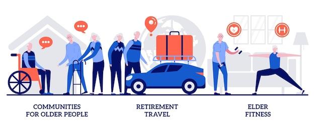 Сообщества для пенсионеров, пенсионные путешествия, концепция фитнеса пожилых людей с крошечными людьми. набор абстрактных векторных иллюстраций ухода за пожилыми людьми. службы поддержки пожилых людей, метафора детского дома.