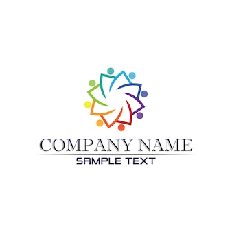 Community care logo people in circle vector concept
