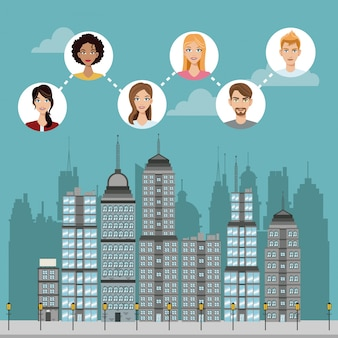 コミュニティに接続された都市の建物