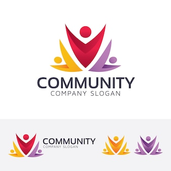 Community and crowd vector logo template
