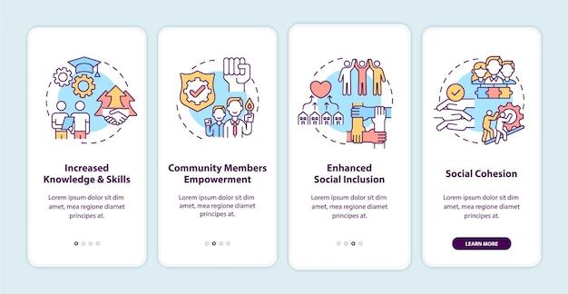 Выгоды от развития сообщества, добавляя экран страницы мобильного приложения с концепциями.